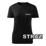 Damska czarna koszulka strażacka WZ14 Szary napis STRAŻ