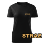 Damska czarna koszulka strażacka WZ15 Żółty napis STRAŻ