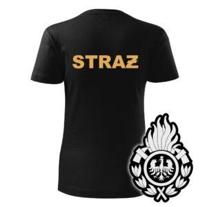 Damska czarna koszulka Straż Pożarna, żółty napis na plecach, WZÓR 01 – Ognik OSP