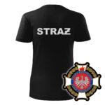 Damska czarna koszulka Straż Pożarna, szary napis na plecach, WZÓR 02 – Krzyż Związkowy OSP