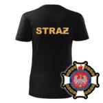 Damska czarna koszulka Straż Pożarna, żółty napis na plecach, WZÓR 02 – Krzyż Związkowy OSP