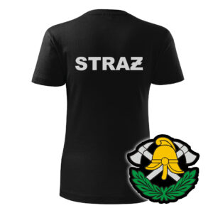 Damska czarna koszulka strażacka WZ03 Toporki Hełm