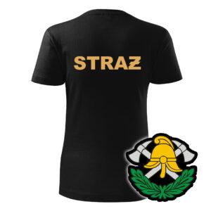 Damska czarna koszulka Straż Pożarna, żółty napis na plecach, WZÓR 03 – Toporki i Hełm