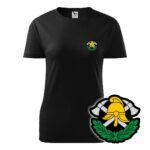 Damska czarna koszulka Straż Pożarna, szary napis na plecach, WZÓR 03 – Toporki i Hełm