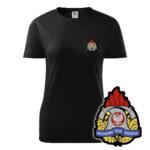 Damska czarna koszulka Straż Pożarna, żółty napis na plecach, WZÓR 05 – Państwowa Straż Pożarna