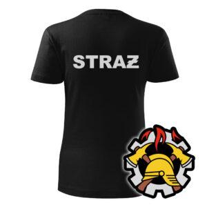 Damska czarna koszulka Straż Pożarna, szary napis na plecach, WZÓR 09 – Wojskowa Ochrona Przeciwpożarowa