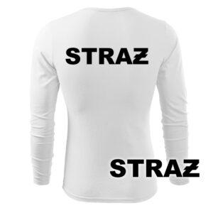 Biała koszulka strażacka długi rękaw NAPIS STRAŻ PLT