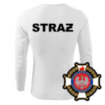 Biała koszulka strażacka długi rękaw WZ02 Krzyż Związkowy PLT
