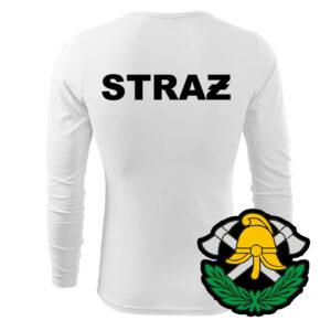 Biała koszulka strażacka długi rękaw WZ03 Toporki i Hełm PLT