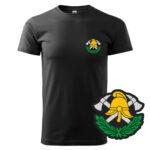 Czarna koszulka Straż Pożarna, szary napis na plecach, WZÓR 03 – Toporki i Hełm