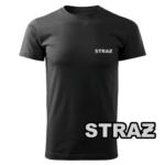 Czarna koszulka strażacka WZ14 Szary napis STRAŻ PLT