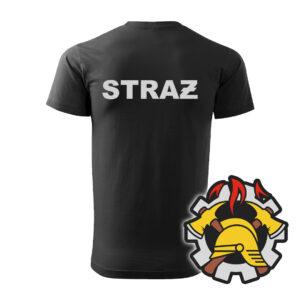 Czarna koszulka Straż Pożarna, szary napis na plecach, WZÓR 09 – Wojskowa Ochrona Przeciwpożarowa