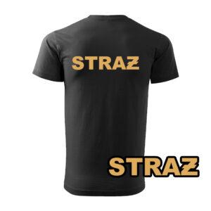 Czarna koszulka strażacka WZ15 Żółty napis STRAŻ PLT