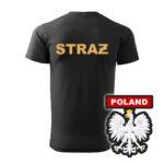 Czarna koszulka Straż Pożarna, żółty napis na plecach, WZÓR 06 – Orzeł Polska