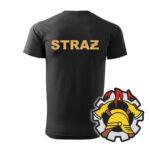 Czarna koszulka Straż Pożarna, żółty napis na plecach, WZÓR 09 – Wojskowa Ochrona Przeciwpożarowa
