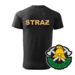 Czarna koszulka Straż Pożarna, żółty napis na plecach, WZÓR 03 – Toporki i Hełm