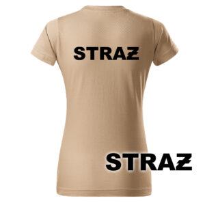 Damska piaskowa koszulka Straż Pożarna, napis STRAŻ