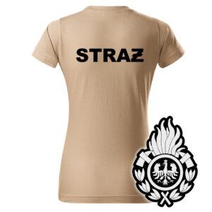 Damska piaskowa koszulka Straż Pożarna, WZÓR 01 – Ognik OSP