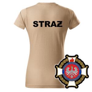 Damska piaskowa koszulka Straż Pożarna, WZÓR 02 – Krzyż Związkowy OSP