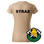 Damska piaskowa koszulka Straż Pożarna, WZÓR 03 – Toporki i Hełm
