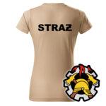 Damska piaskowa koszulka Straż Pożarna, WZÓR 09 – Wojskowa Ochrona Przeciwpożarowa