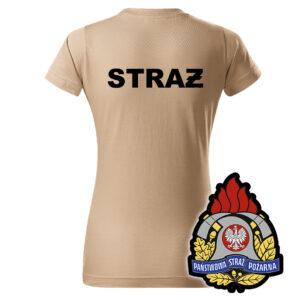 Damska piaskowa koszulka Straż Pożarna, WZÓR 05 – Państwowa Straż Pożarna
