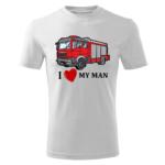 I love my MAN, biała koszulka STRAŻACKA z nadrukiem STR002