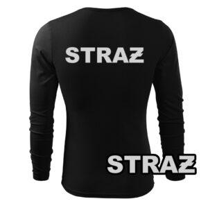 Koszulka strażacka długi rękaw SZARY NAPIS STRAŻ PLT