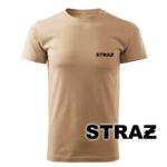Piaskowa koszulka strażacka WZ16 czarny napis STRAŻ