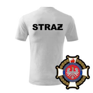 Biała koszulka Straż Pożarna, WZÓR 02 – Krzyż Związkowy OSP