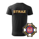 Czarna koszulka Straż Pożarna, żółty napis na plecach, WZÓR 02 – Krzyż Związkowy OSP