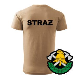 Piaskowa koszulka Straż Pożarna, WZÓR 03 – Toporki i Hełm