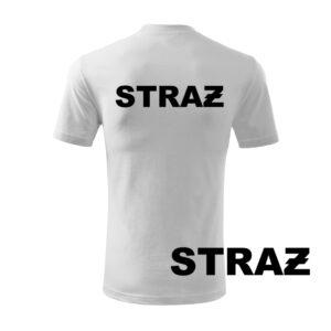 Biała koszulka strażacka WZ16 czarny napis STRAŻ PLT