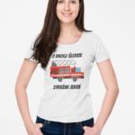 Z drogi śledzie strażak jedzie, damska biała koszulka STRAŻACKA z nadrukiem STR009