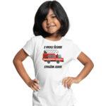 Z drogi śledzie strażak jedzie, biała koszulka dziecięca STRAŻACKA z nadrukiem STR009