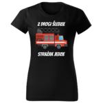 Z drogi śledzie strażak jedzie, damska czarna koszulka STRAŻACKA z nadrukiem DTG009