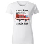 Z drogi śledzie strażak jedzie, damska biała koszulka STRAŻACKA z nadrukiem DTG009