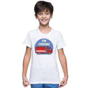 Syn strażaka, biała koszulka dziecięca STRAŻACKA z nadrukiem STR010