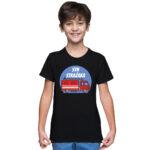 Syn strażaka, czarna koszulka dziecięca STRAŻACKA z nadrukiem STR010