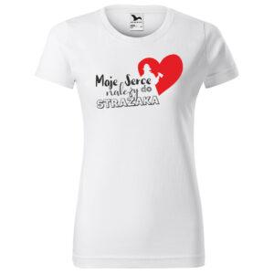 Moje serce należy do strażaka, damska biała koszulka STRAŻACKA z nadrukiem STR011