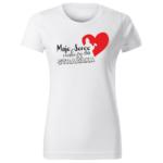 Moje serce należy do strażaka, damska biała koszulka STRAŻACKA z nadrukiem DTG011