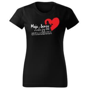 Moje serce należy do strażaka, damska czarna koszulka STRAŻACKA z nadrukiem DTG011