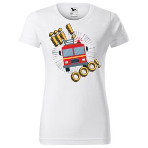 Iiiooo, damska biała koszulka STRAŻACKA z nadrukiem STR012