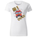 Iiiooo, damska biała koszulka STRAŻACKA z nadrukiem DTG012