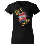Iiiooo, damska czarna koszulka STRAŻACKA z nadrukiem DTG012