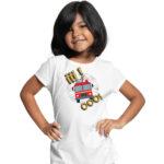 Iiiooo, biała koszulka dziecięca STRAŻACKA z nadrukiem STR012