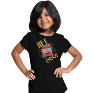 Iiiooo, czarna koszulka dziecięca STRAŻACKA z nadrukiem STR012