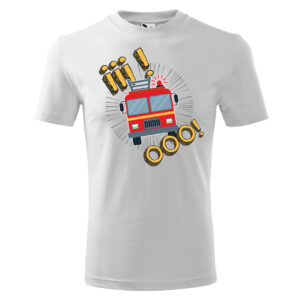 Iiiooo, biała koszulka STRAŻACKA z nadrukiem STR012