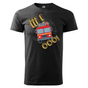 Iiiooo, czarna koszulka STRAŻACKA z nadrukiem STR012