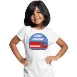 Córka strażaka, biała koszulka dziecięca STRAŻACKA z nadrukiem STR013